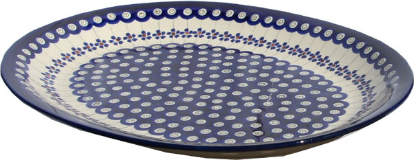 Polish Pottery Large Serving Platter, Classic Design Floral Peacock