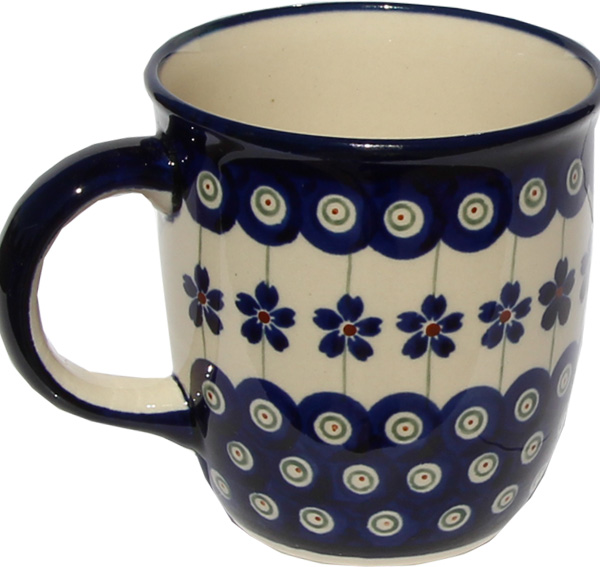 Polish Pottery Mug 12 Oz. Floral Peacock Design 166a