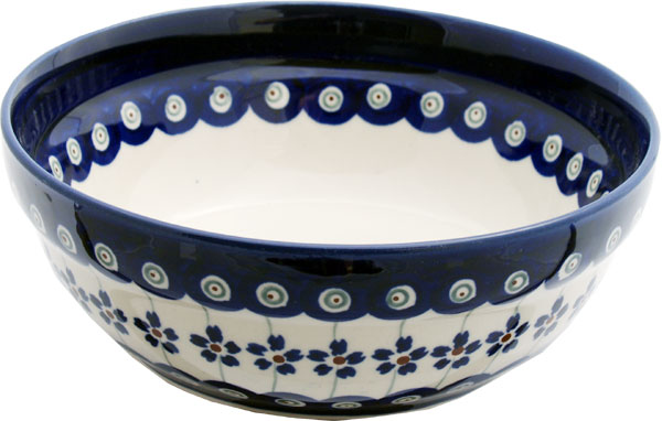 Polish Pottery Cereal / Salad Bowl, Floral Peacock Design