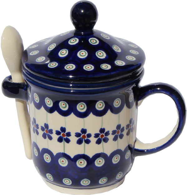 Polish Pottery Brew-in-Mug, Floral Peacock Design