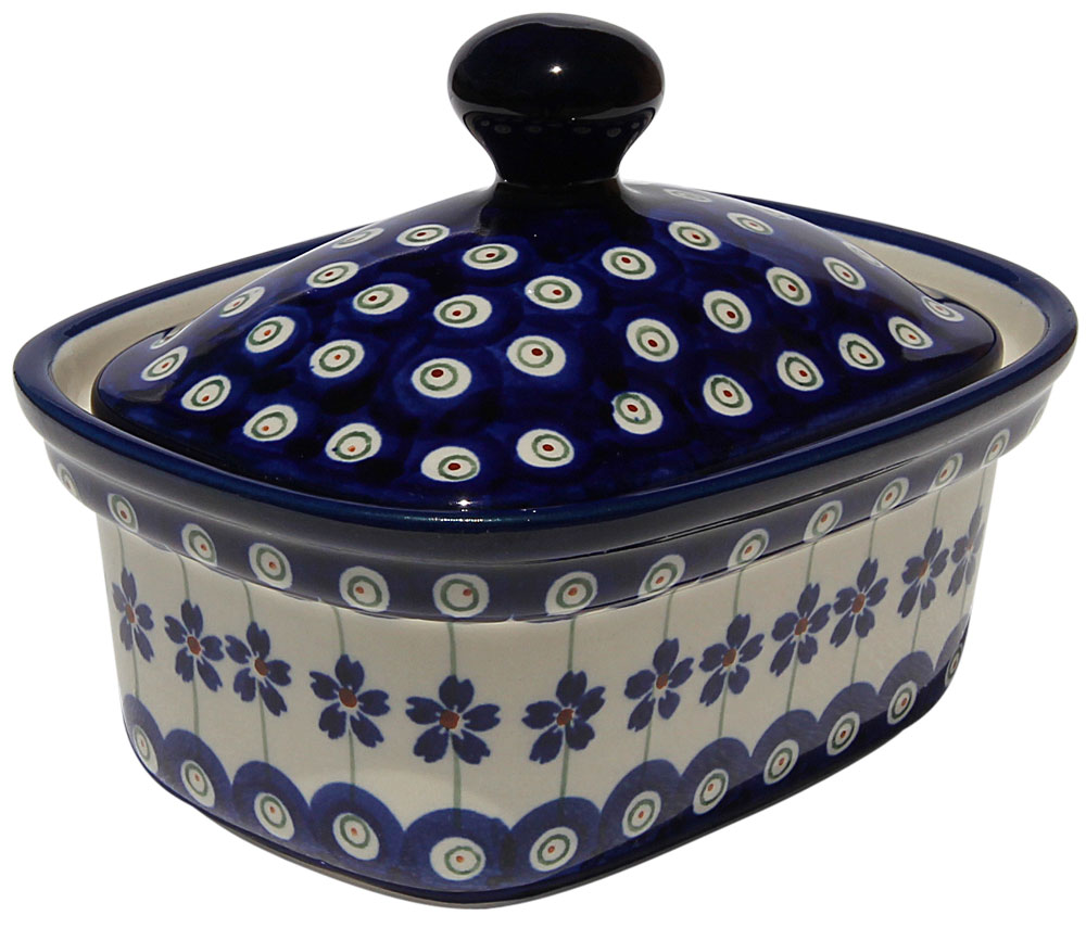 Polish Pottery Butter Tub, Floral Peacock Design