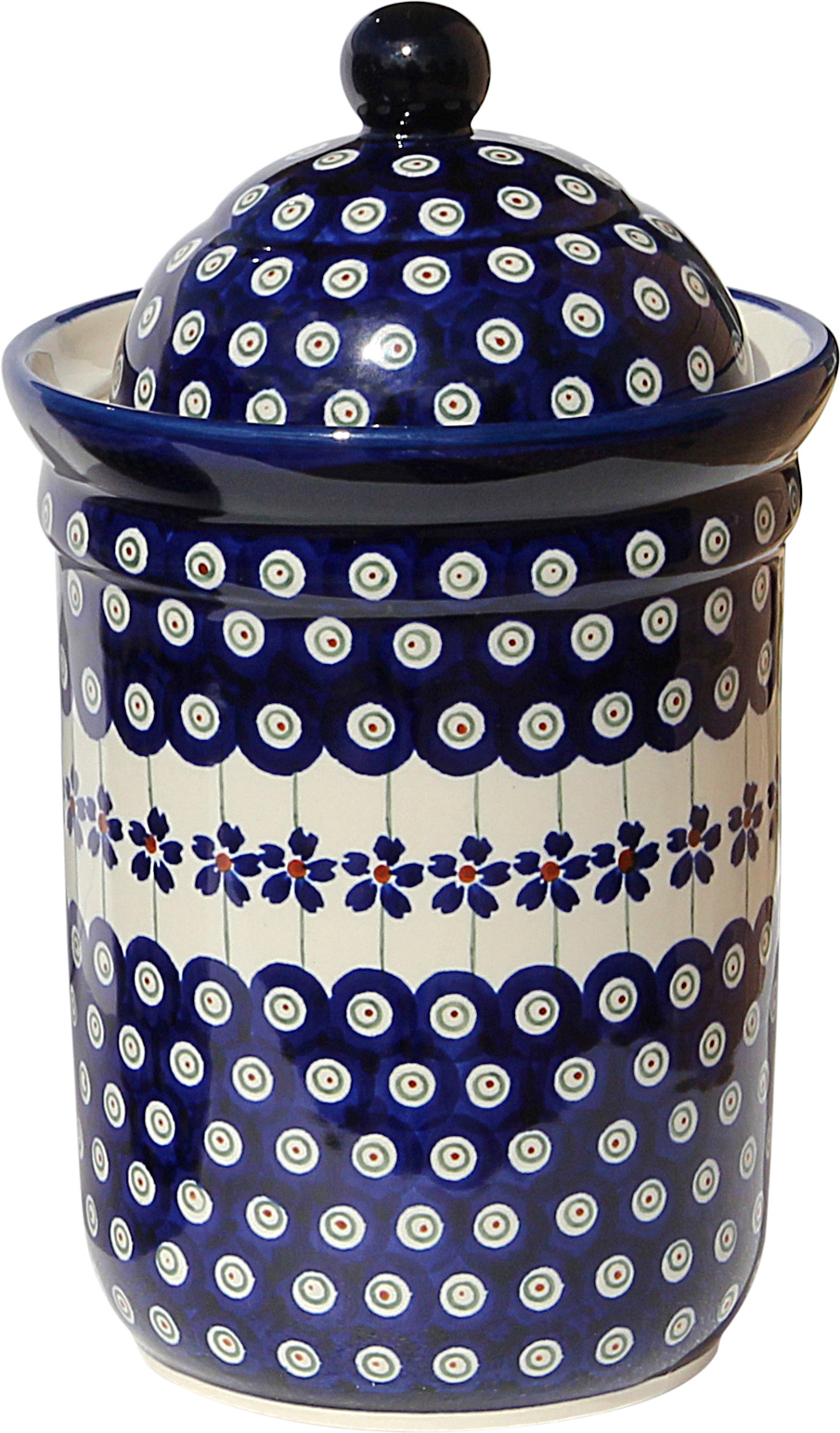 Polish Pottery Canister 5.5 Cups, Classic Design 166a