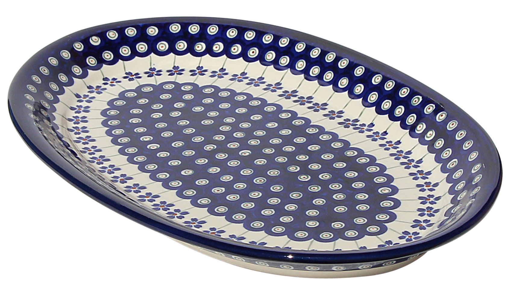 Polish Pottery Large Oval Platter, Floral Peacock Design