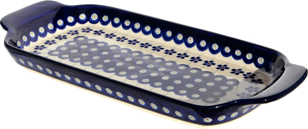 Polish Pottery Bread Tray, Classic Pattern Floral Peacock