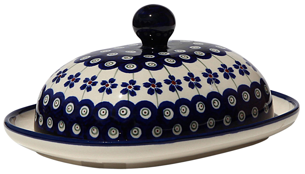 European Polish Pottery Butter Dish in Floral Peacock Pattern from Zaklady
