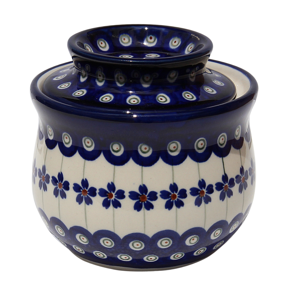 French Butter Keeper Polish Pottery Floral Peaock Design