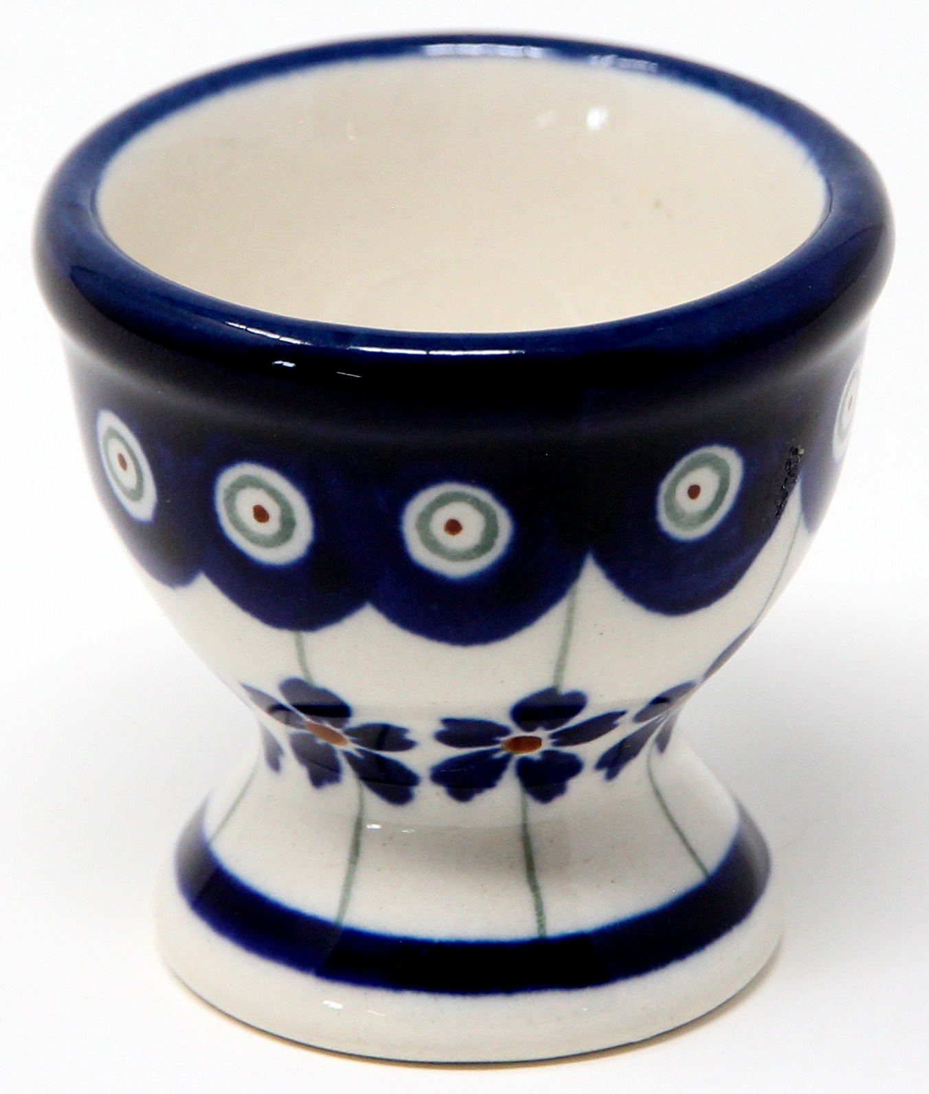 Egg Cup in Floral Peacock Polish Pottery Pattern