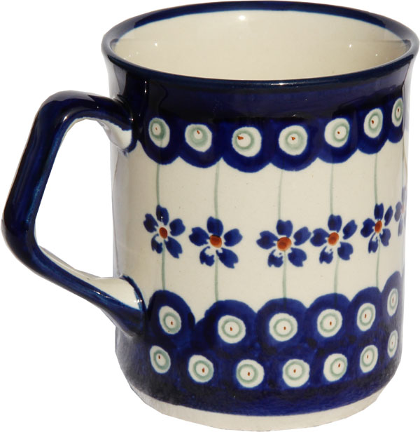 Polish Pottery Coffee Mug 8.5 oz., Classic Design Floral Peacock