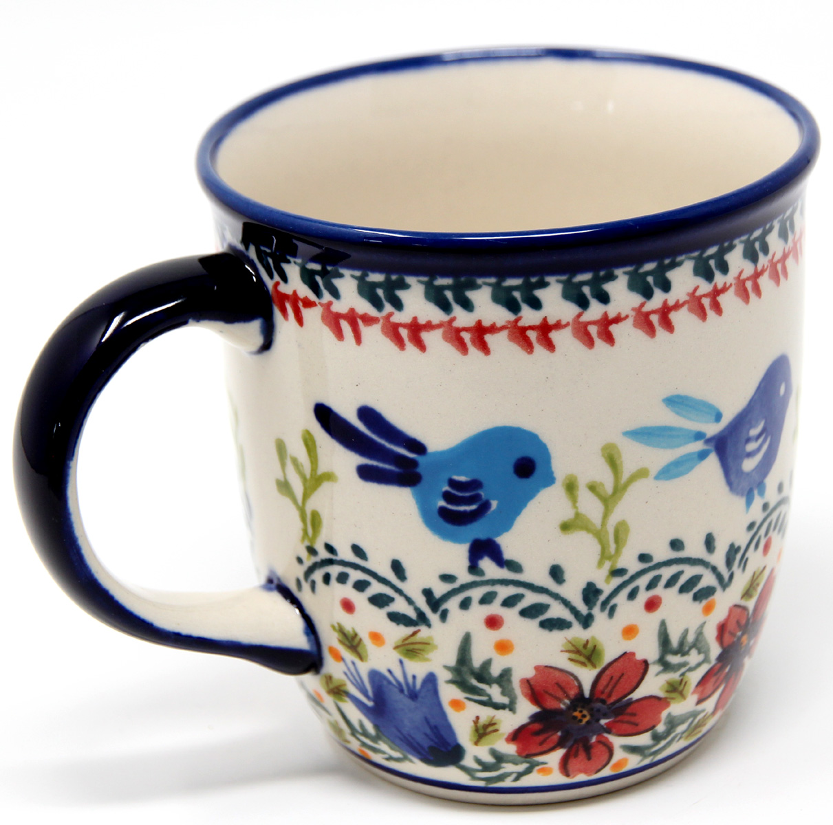 Polish Pottery Mug 12 Oz., Unikat Signature Design 214 Art