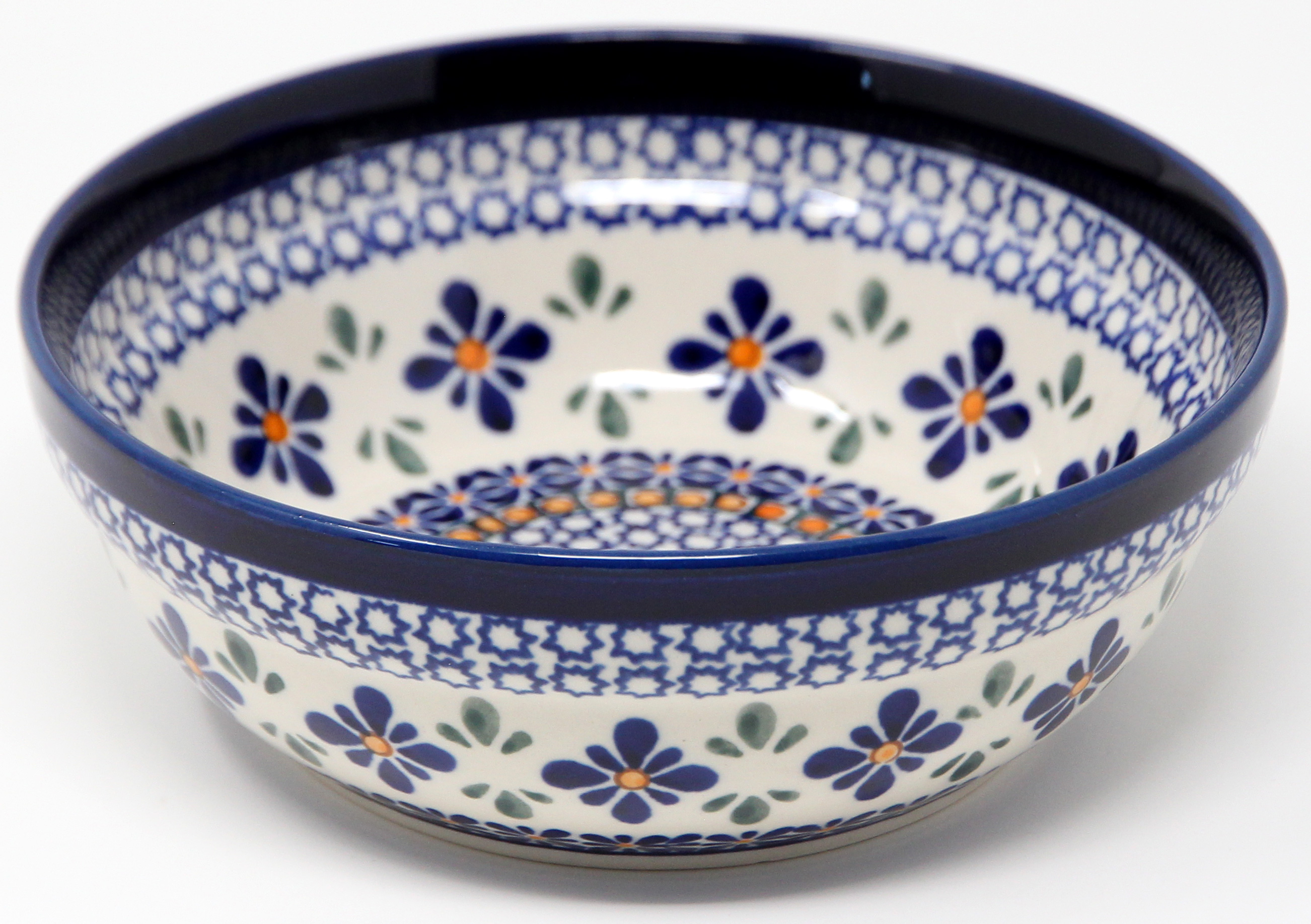 Cereal / Salad Bowl Decoration Inside in Mosaic Flower Polish Pottery Pattern