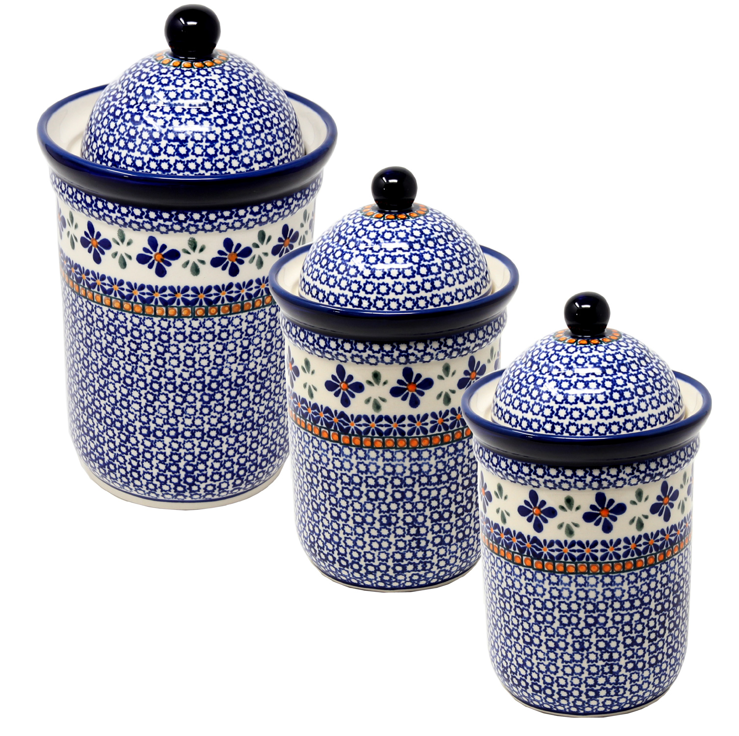 Canister Set 3 Piece Polish Pottery in Mosaic Flower Design
