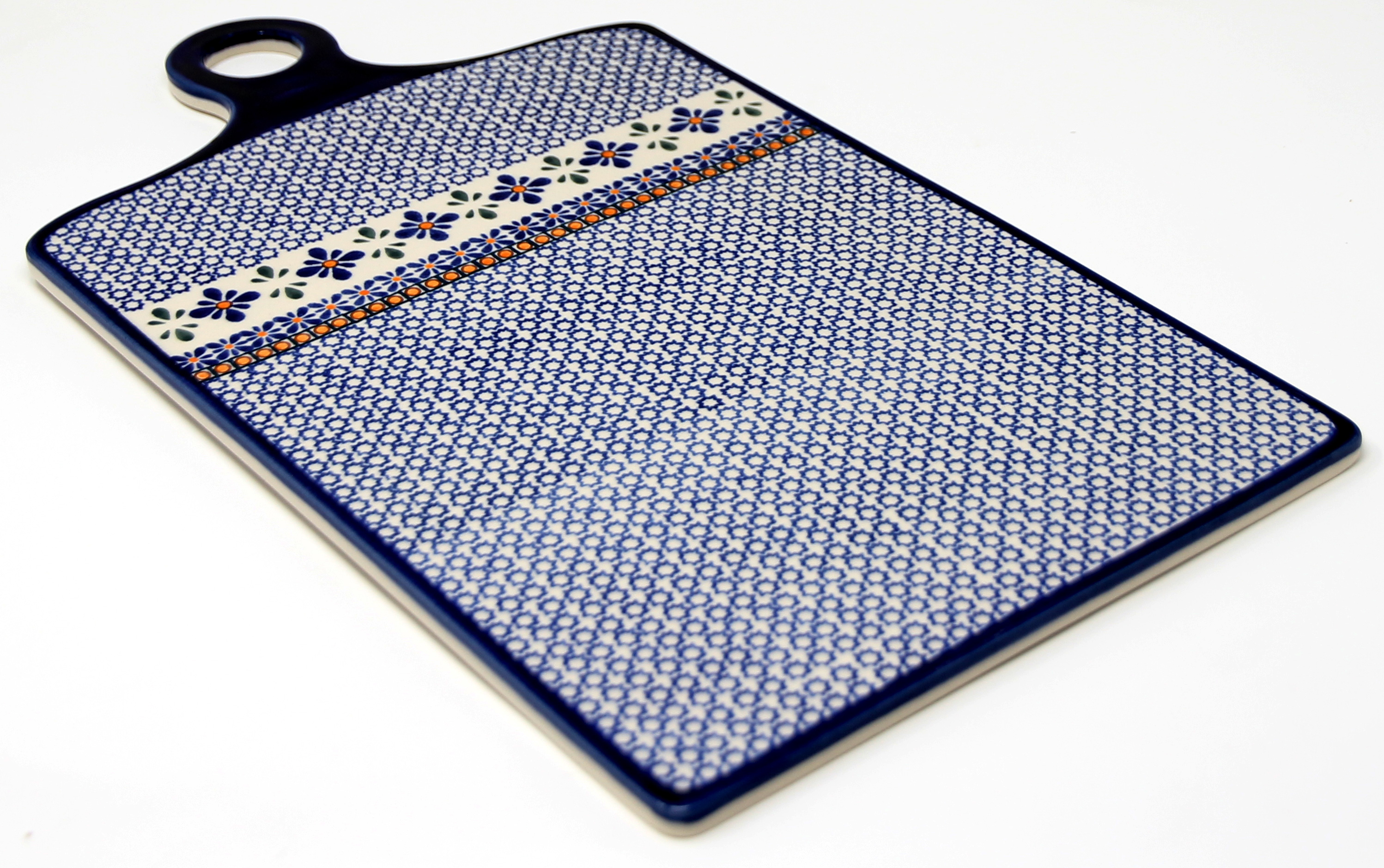 Polish Pottery Extra Large Cutting Board from Zaklady in Mosaic Flower Pattern