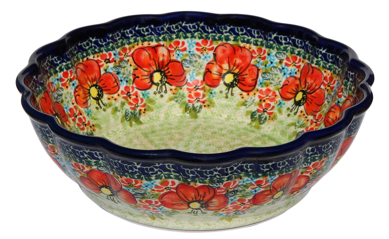 Polish Pottery Scalloped Bowl, Unikat Signature 296ar Pattern