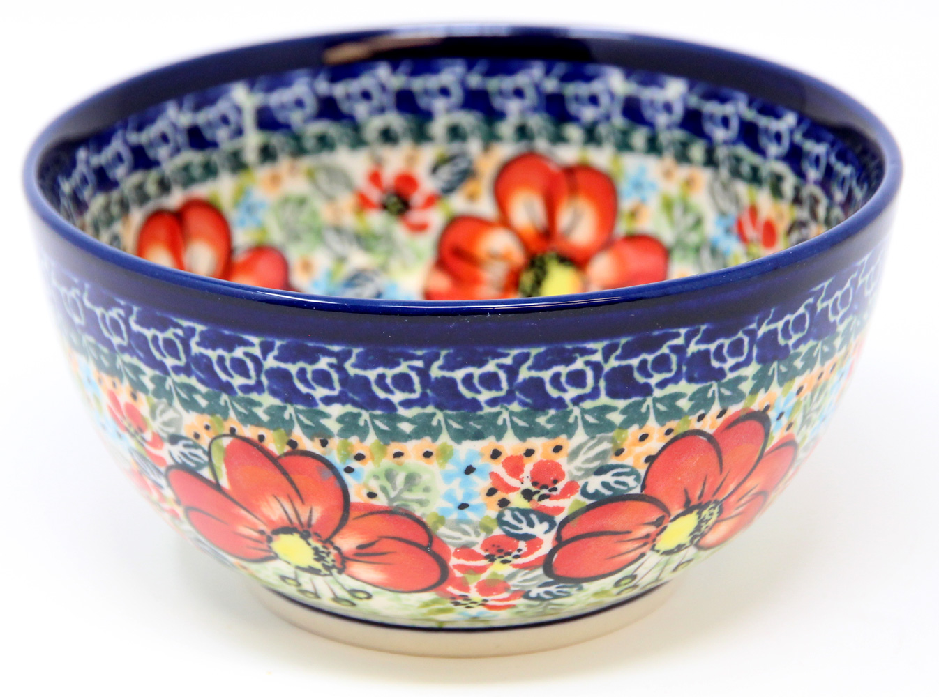 Polish Pottery Ice Cream/Cereal  Bowl Decoration Inside