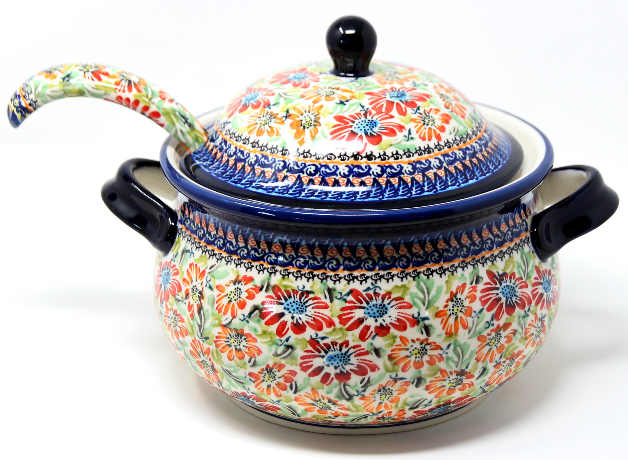 Polish Pottery Soup Tureen with Ladle in Floral Garden Unikat Pattern