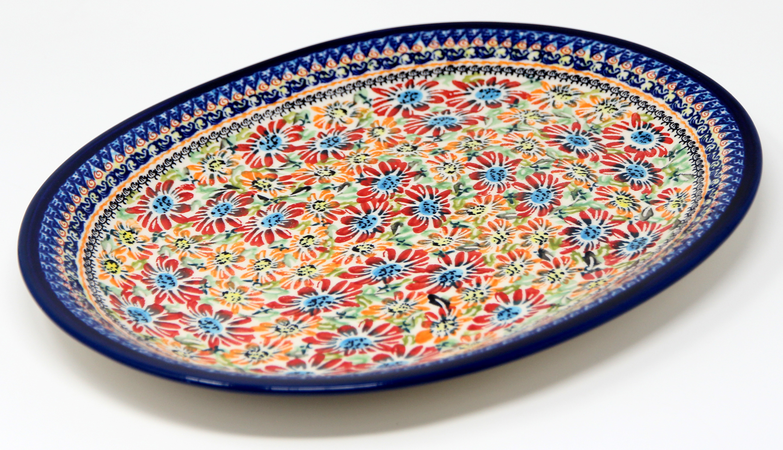 Large Serving Platter in Floral Garden Polish Pottery Pattern painted by Anna Janczyk
