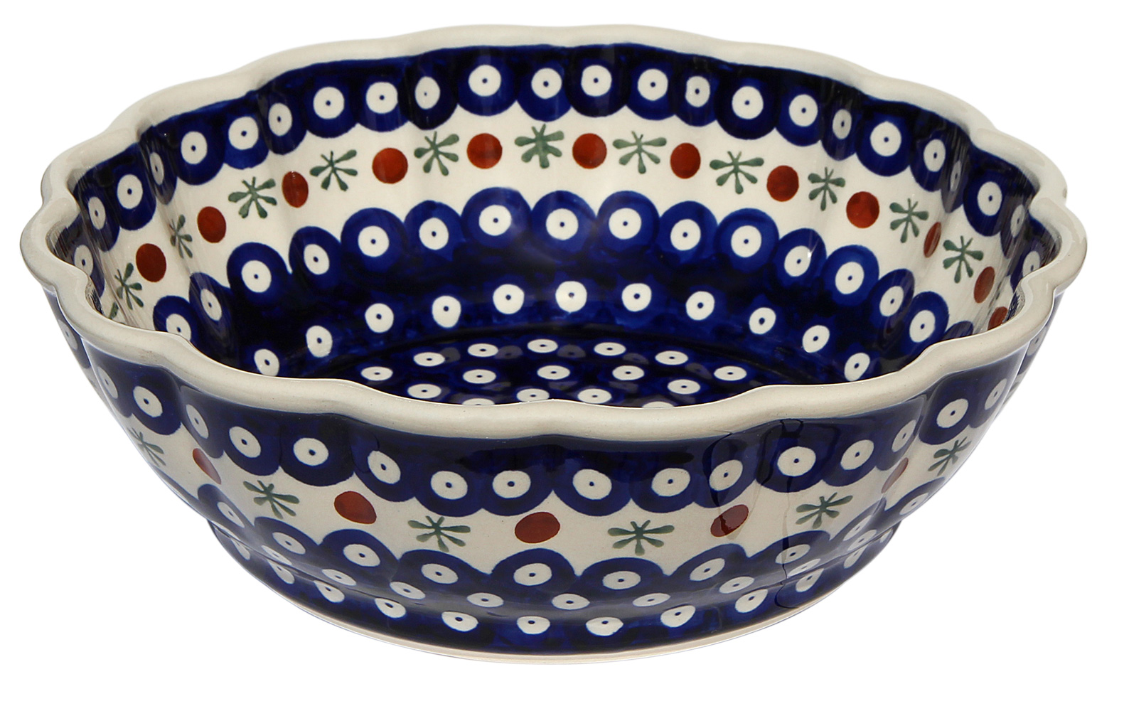 Polish Pottery Scalloped Bowl, Classic 41 Design