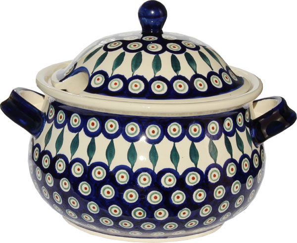 Polish Pottery Soup Tureen, Classic Design Peacock