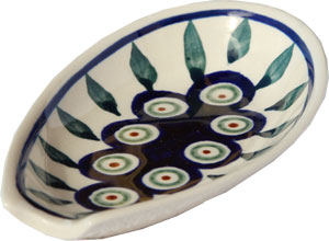 Polish Pottery Spoon Rest, Classic Design Peacock