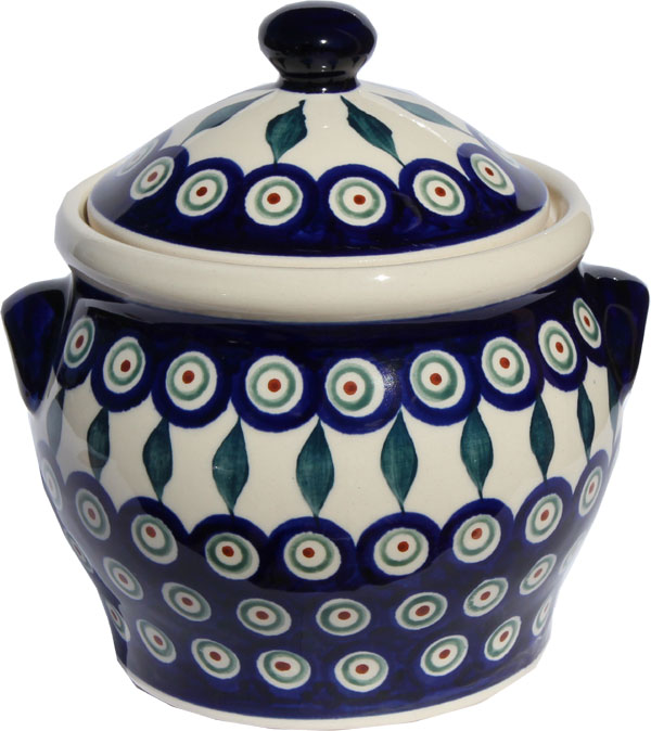 Polish Pottery Medium Canister 4.2 cups in Peacock Pattern from Boleslawiec