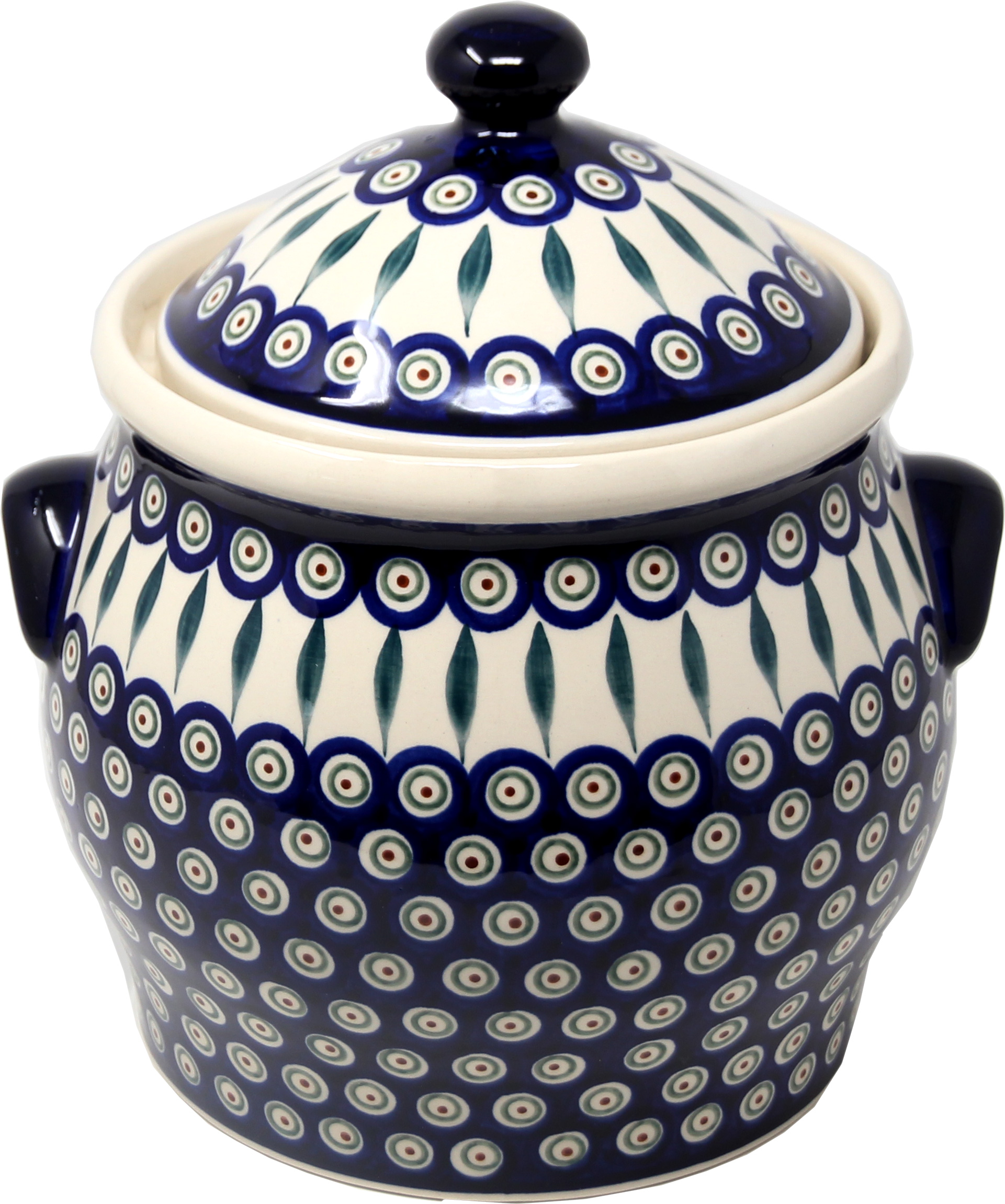 Extra Large 6 Quart Polish Pottery Cookie Jar / Canister in Peacock Pattern from Zaklady