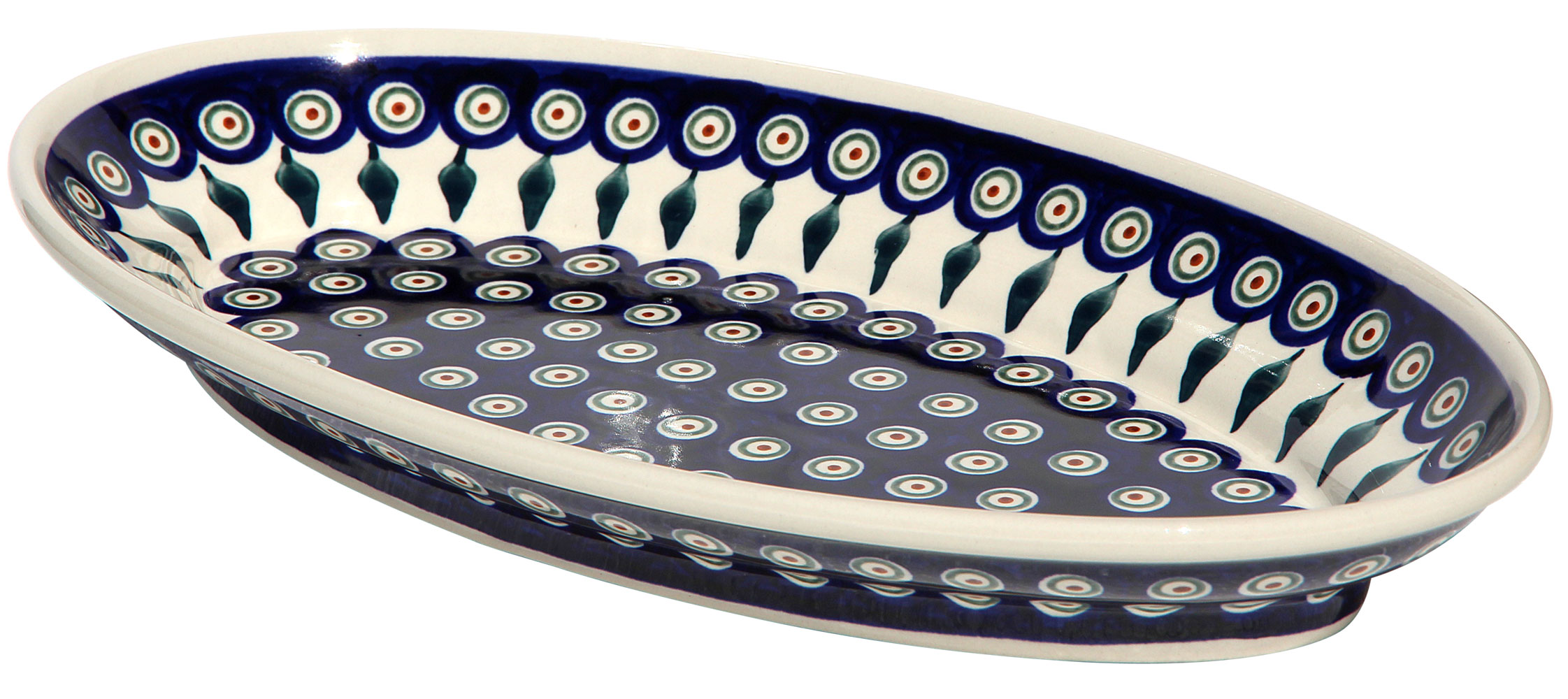 Polish Pottery Large Oval Serving Dish, Peacock Classic Design 56