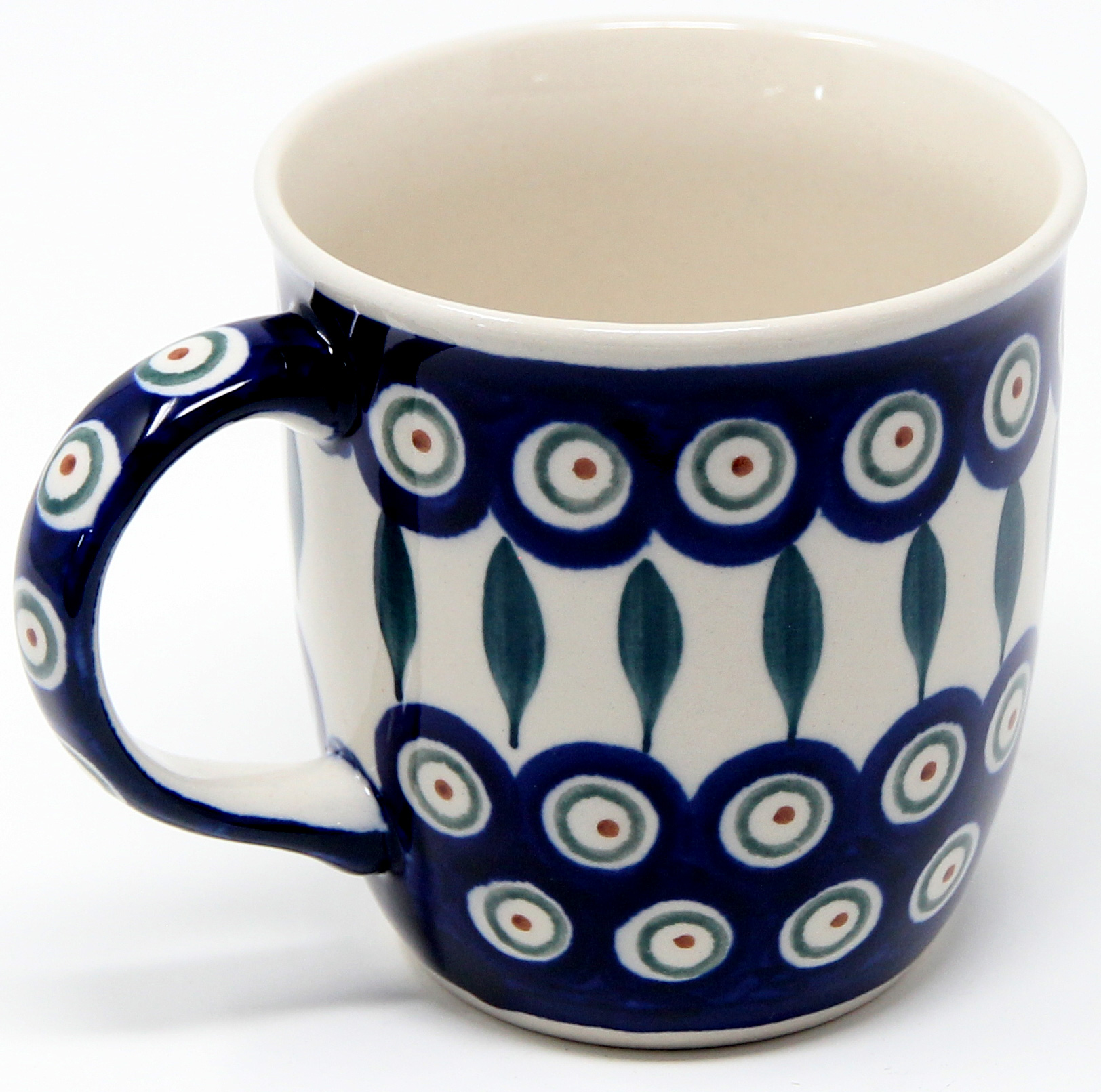 Polish Pottery Mug 12 Oz., Peacock Classic Design