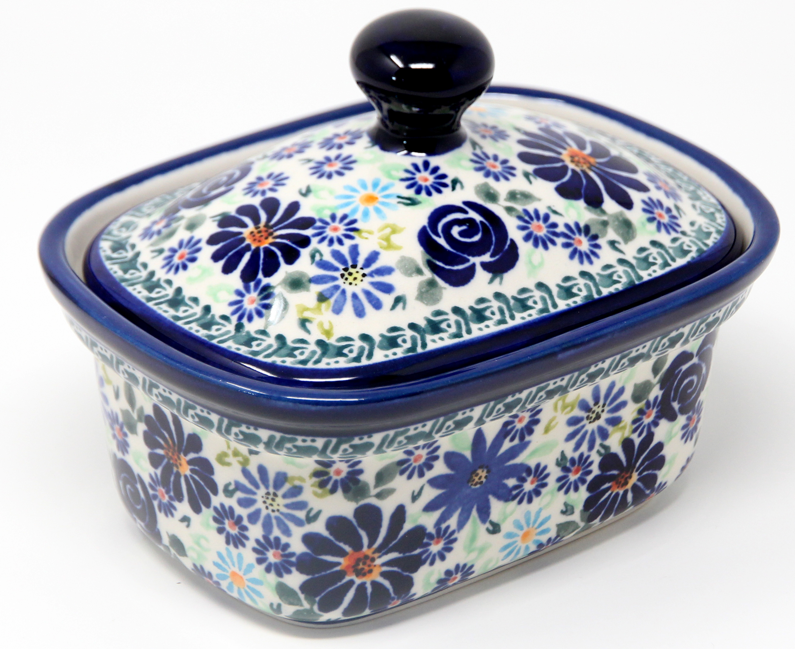 Butter Tub 2 Cups Capacity in Polish Pottery Design DU126