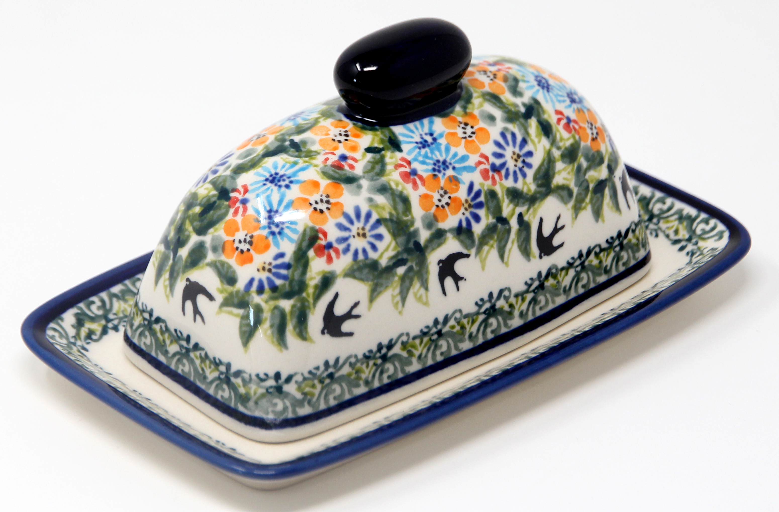 Butter Dish Polish Pottery in DU182 Pattern