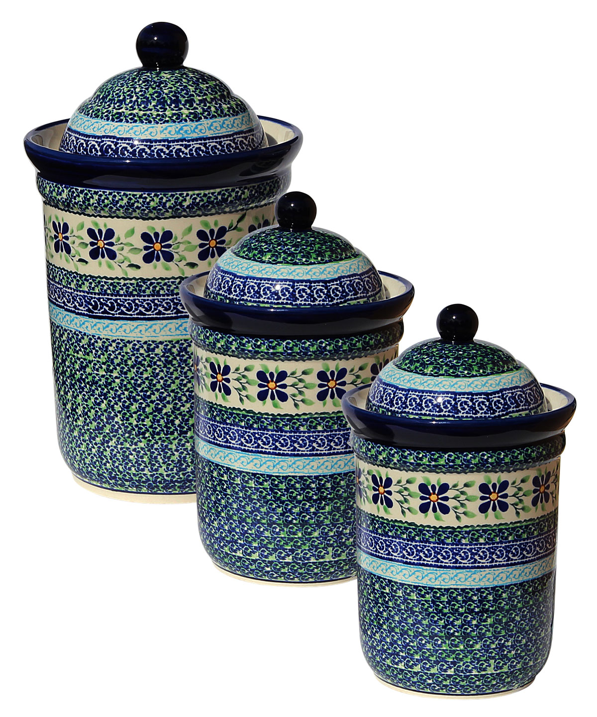 Polish Pottery 3 PC Canister Set, Unikat Design DU121