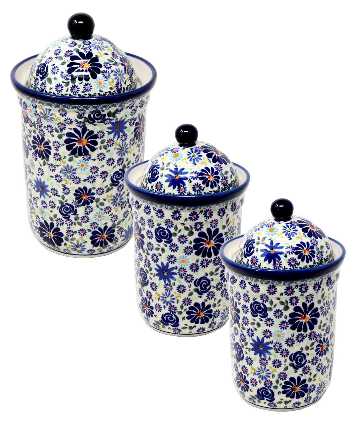 Polish Pottery 3 PC Canister Set from Zaklady in DU126 pattern