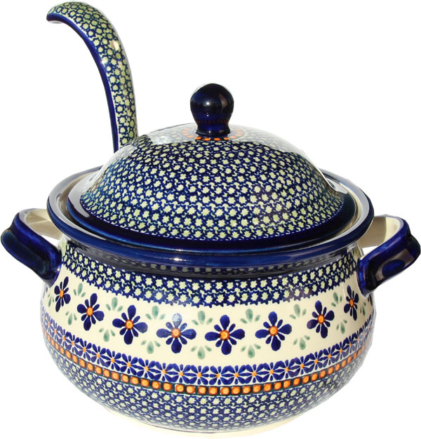 Polish Pottery Soup Tureen with Ladle, Unikat Design DU60