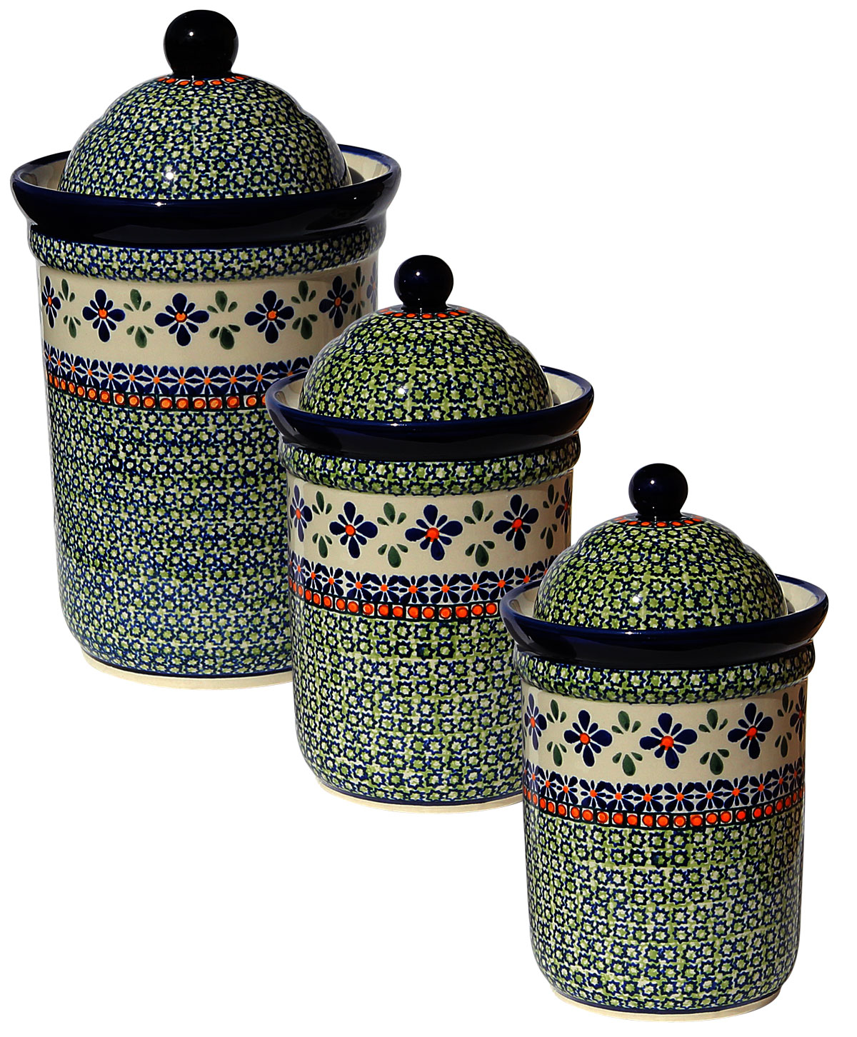 Polish Pottery 3 PC Canister Set, Unikat Design DU60