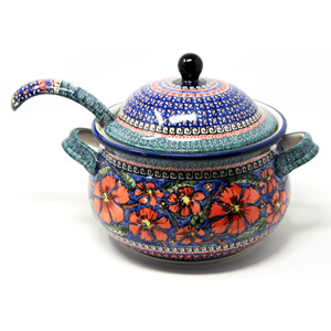 Soup Tureen with Ladle Polish Pottery painted by Tomaszewska