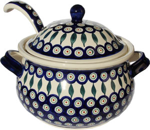 Polish Pottery Soup Tureen with Ladle, Classic Design Peacock