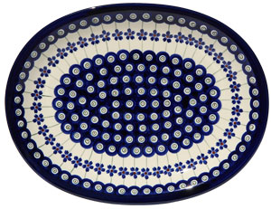 Polish Pottery Medium Serving Platter, Floral Peacock Design