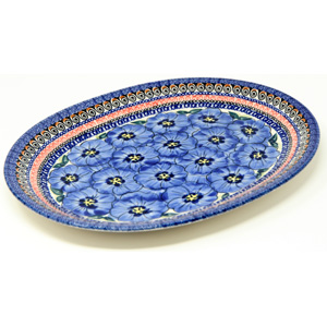 Large Serving Platter in Regal Bouquet Polish Pottery Pattern signed by Anna Madziarz