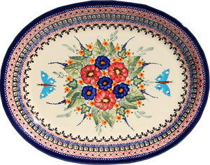 Polish Pottery Large Serving Platter, Unikat Signature Design 149 Art