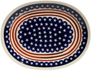 Polish Pottery Large Serving Platter, Classic Design 81