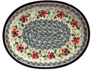 Polish Pottery Large Serving Platter, Unikat Design DU116