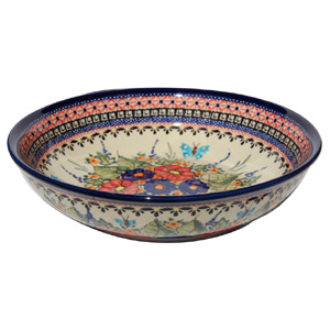 Polish Pottery Bowl 10 Inch, Unikat Signature Design 149 Art