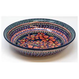 Polish Pottery Bowl 10 Inch, Unikat Signature Design 150 Art