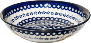 Polish Pottery Bowl 10 Inch, Classic Design Floral Peacock