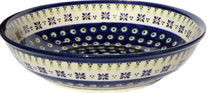 Polish Pottery Bowl 10 Inch, Classic Design 296a