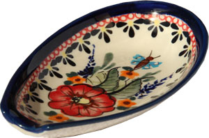 Polish Pottery Spoon Rest, Unikat Signature 149 Art