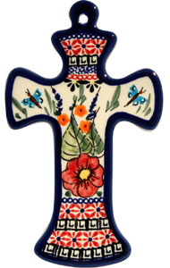 Polish Pottery Cross, Unikat Signature 149 Art