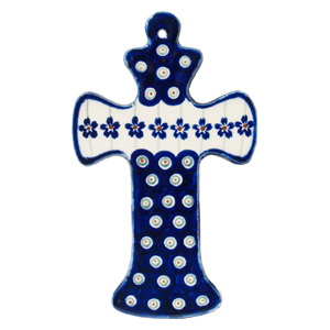Polish Pottery Cross, Classic Design Floral Peacock
