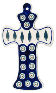 Polish Pottery Cross, Classic Design Peacock