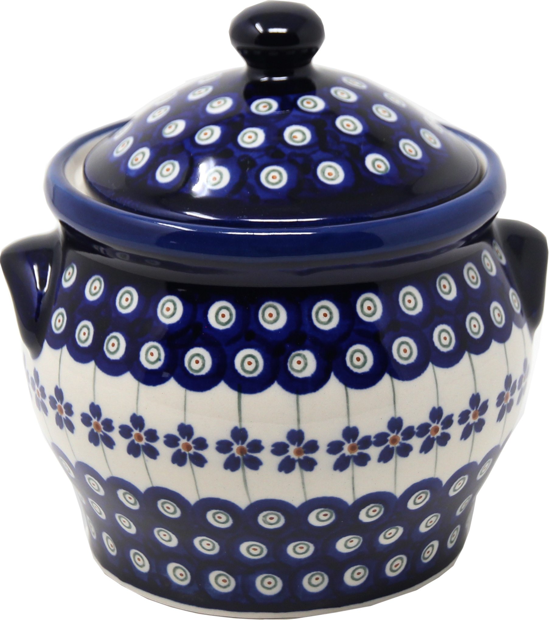 Polish Pottery Medium Canister 4.2 cups in Floral Peacock Pattern from Boleslawiec