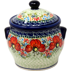 Polish Pottery Medium Canister 4.2 cups in Garden Meadow Pattern from Zaklady